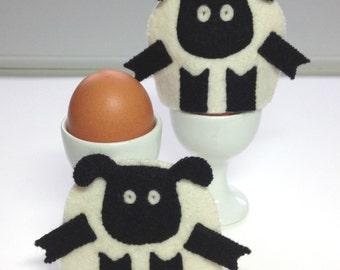 Egg Cosy Wool Felt Lamb Pair White