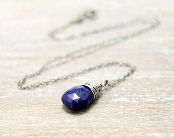 Lapis Necklace, Oxidized Sterling Silver Wire Wrapped Cobalt Blue Gemstone Lapis Lazuli Necklace
