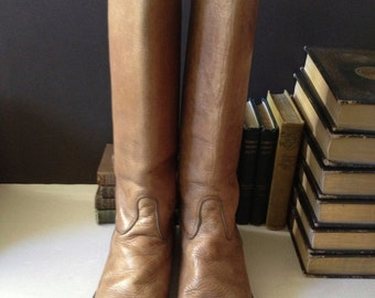 Tan Brown Leather Riding Boots, Size 8 UK, Made in England