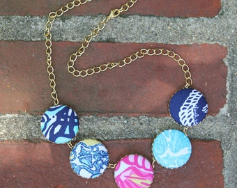 "Custom Lilly Pulitzer ""Sailor Patch"" Fabric Covered Button Necklace"