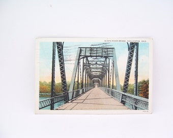 Vintage Postcard from Scioto River Bridge, Chillicothe Ohio Dated 1936, Vintage Collectible Post Cards, Linen Postcards