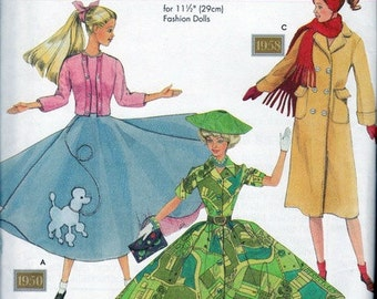 Simplicity Doll Collectors Club - 9840 - Fabulous Fifties - Fashion Doll Clothing Patterns  - Styles from 1950s - Poodle Skirt