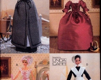"Linda Carr Doll Clothes Designs For 11.5"" Fashion Dolls - Vogue Craft 7039 - Historic Dress"
