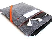 iPad Cover, iPad Case, iPad Mini Cover, iPad Mini Case, iPad Air Case, iPad Pro Case, iPad 2, iPad 3, iPad- Sleeve- Charcoal Grey & Orange