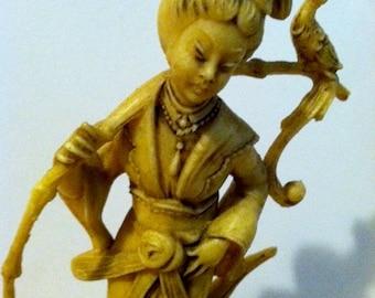 Antique Japanese Celluloid Geisha Goddess with bird