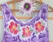Hand Painted Top - Women's Clothing - Cotton Tunic Top - Plus Size Top - Hawaiian Shirt - Wearable Art - Kauai Hawaii Hand Painted TShirt