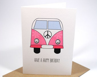 Happy Birthday Card - Female - Hippy Pink Peace Van - HBF121