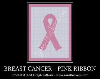 Breast Cancer Pink Ribbon - Afghan Crochet Graph Pattern Chart - Instant Download at ETSY