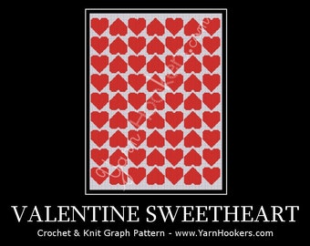 Valentine Sweetheart - Afghan Crochet Graph Pattern Chart - Instant Download