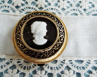 Vintage makeup compact, Max Factor Mini Cameo Compact  Face Powder And Mirror