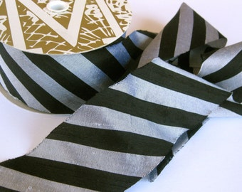 """New York Gala black and silver stripe Dupioni Ribbon 2"""" wide sold by the yard"""