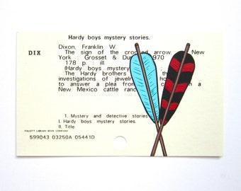 Hardy Boys Library Card Art - Print of my painting of arrows on card for a Hardy Boys mystery book