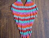 Seed Bead Earrings- Native Beading- Stripe Pattern