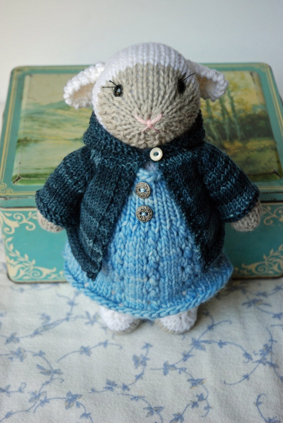 Knitted lamb toy in Baby Blue Wool Dress and Spring Hoodie