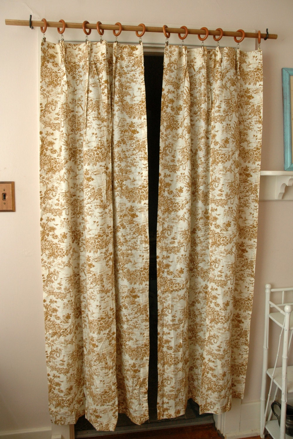 Mid century pair toile curtain panels brown german print for 1940s window treatments