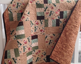 Baby Boy Quilt featuring Football Brown Green Tan Flannel Cotton