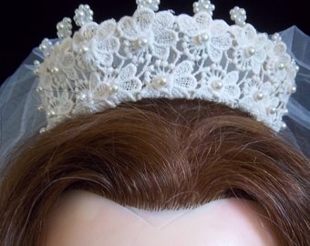 Bridal Crown with Attached Veil - Lace with Pearl Beads - Gorgeous Headdress Vintage Wedding Dress - Headpiece - Accessory