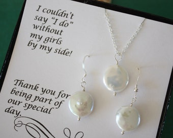 2 Bridesmaid Pearl Necklaces and Earring Sets, White Pearls, Sterling Silver, Pearl Set, Bridesmaid Gift, Earrings, Thank you Card