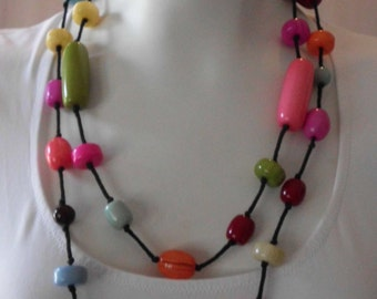vintage COLORFUL BEADED Xtra long NECKLACE Mod