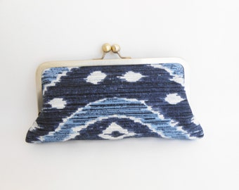 Ikat Navy Blue Kiss Clutch