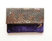 AMETHYST  / Velvet & Sequin folded clutch - Ready to Ship - OOAK - DDSLLGirlsStore