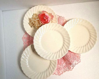 Vintage Swirl dessert side or b&b plates cream ivory white set of FOUR Cottage Chic, Mid Century vintage tea party, wedding