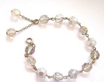 Vintage Bracelet Aurora Borealis Tassel 8 Inch