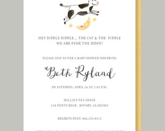 Nursery Rhyme Baby Shower Invitation - Cow Jumped Over the Moon Baby Shower Invite, Watercolor Nursery Rhyme Invitation