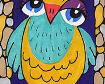 Owl Art, Owl Decor, Funny Owl Print, Yellow And Blue Decor, Art For Kids, Nursery Room Decor, Sweetie Owl by Paula DiLeo_122710