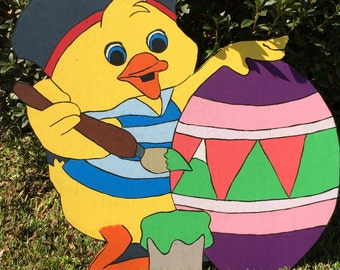 Easter Chick with Egg Yard Art