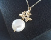 REDUCED - Elegant and Lustrous Coin Pearl Necklace, Gold Flower and Goldfill Chain, Bridesmaids Gifts, Wedding Gift - WAS 31.99 Now 25.99