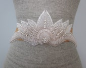 Art Deco Silver Beaded Fan, Lotus Flower, Wedding Sash / Belt, Rhinestone Sash