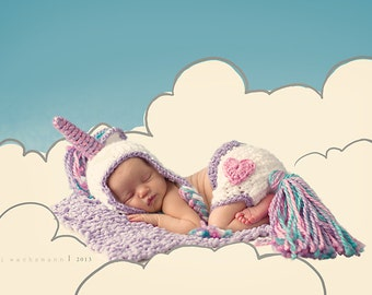 My Little Unicorn Hat and diaper cover set- Made to Order- Any size