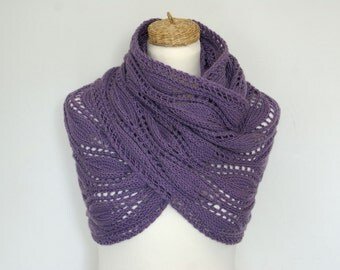 30% OFFLavender Infinity Scarf Lace Cowl Merino  Hand Knit. READY TO SHIP.
