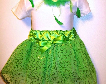 TinkerBell - Costume - Tutu Skirt and matching hair clip fleather flower