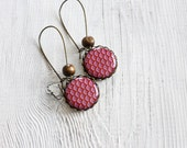 SALE Geometry earrings,  tribal jewelry, free worldwide shipping, oxblood