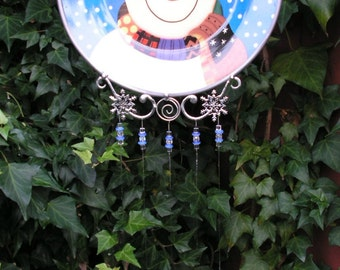 Snowman Plate Windchime with Stained Glass Chimes