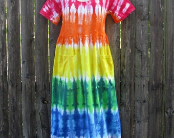 Rainbow Short-Sleeved Tie-dye Dress