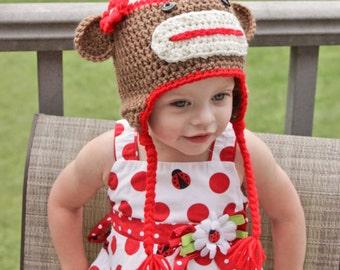 Sock Monkey Hat - Brown Sock Monkey Hat - Baby Girl Hat - Girls Sock Monkey Hat