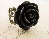 Black Rose Ring - Filigree Flower Cameo Cabochon