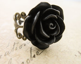 Black Rose Ring - Filigree Flower Cameo Cabochon