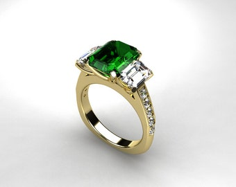 3.21ct emerald cut green tourmaline engagement ring, white sapphire ring, yellow gold, unique, green engagement, trinity, sapphire, wedding