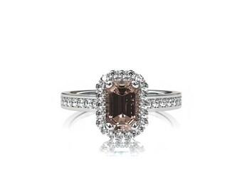 1.25ct Emerald cut morganite halo engagement ring, diamond halo, white gold ring, yellow gold, rose gold, peach morganite, morganite wedding