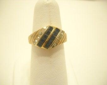 18KTGE, BLUE CRYSTAL & Rhinestone Ring (0378) Size 7.5