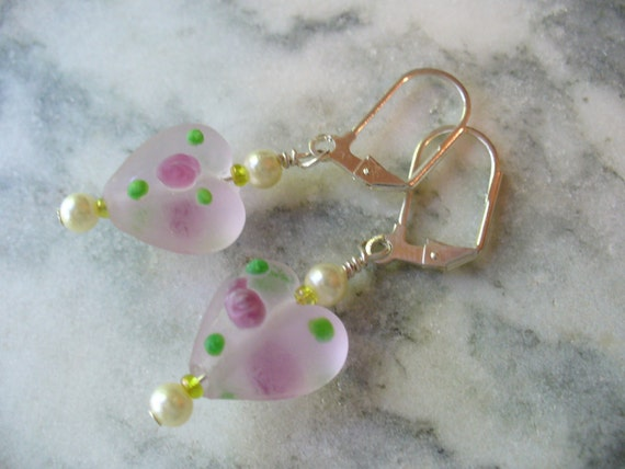 Frosted Pink Heart Earrings, Valentine's Day
