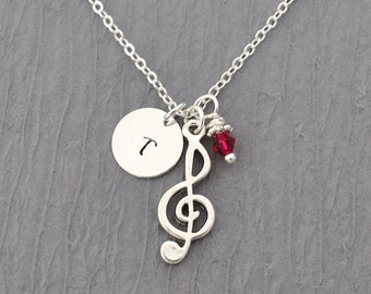 Music treble clef necklace, Birthstone Initial Necklace, Monogram, treble clef jewelry, music charm, treble clef charm, personalized jewelry