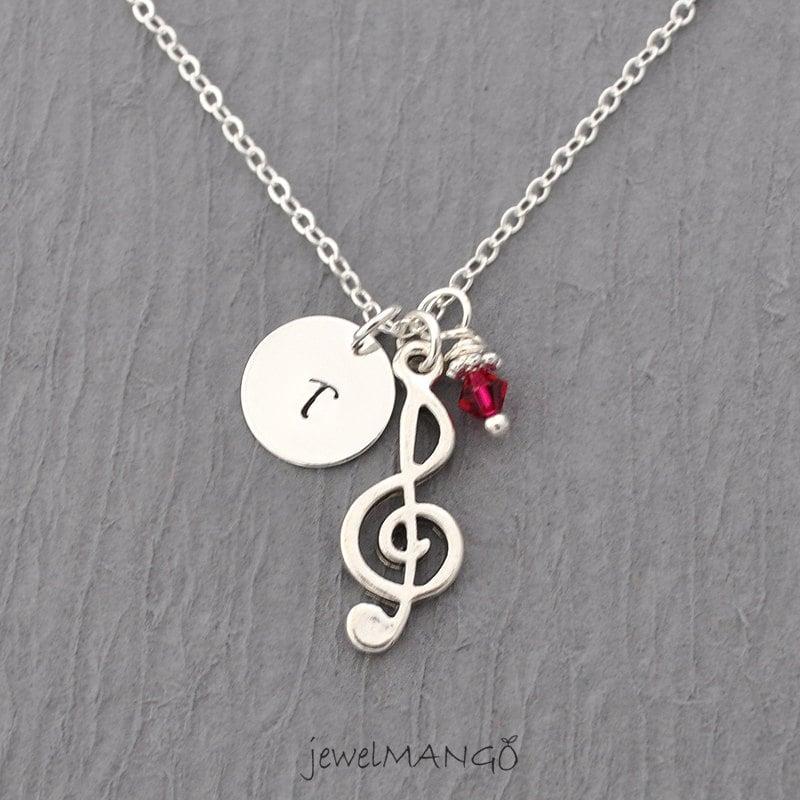treble clef necklace birthstone initial by jewelmango