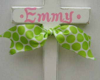 Painted childs wooden wall cross with ribbon personalized cross baptism cross baptism gift