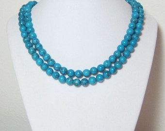 Long Beaded Turquoise Necklace Round Blue Beads