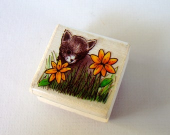 Cat in Flower Garden . Rubber Stamp . used